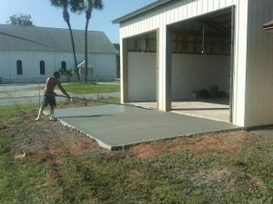 Concrete Pad in Front of garage